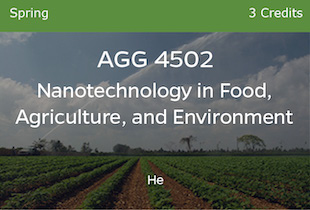 AGG4502, Nanotechnology: Application in Food, Agriculture and Environment, He, Spring, 3 credits