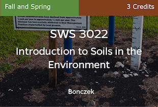 SWS3022, Introduction to Soils in the Environment, Bonczek, Fall, UFO Only, 3 credits