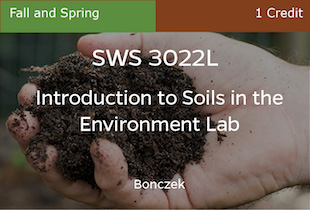 SWS3022, Introduction to Soils in the Environment Lab, Spring, REC only, 1 credit
