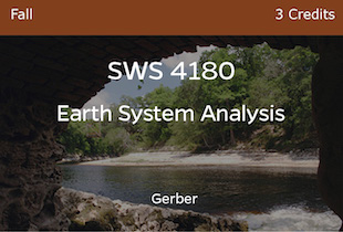 SWS4180, Earth System Analysis, Gerber, Fall, 3 credits