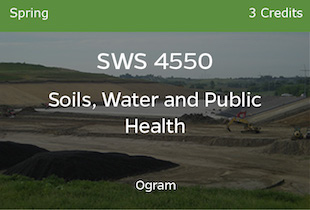SWS 4550, Soils Water and Public Health, Ogram, Spring, 3 credits