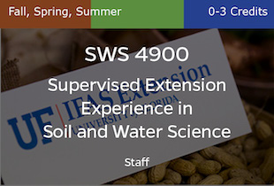 SWS4900 Supervised Extension Experience in Soil and Water Science, Staff, Fall, Spring, Summer, 0-3 credits