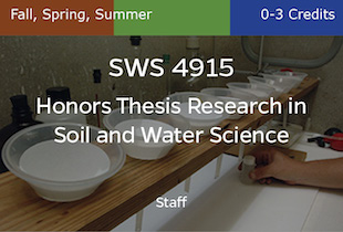 SWS4915, Honors Thesis Research in Soil and Water Science, Staff, Fall, Spring, Summer, 0-3 credits