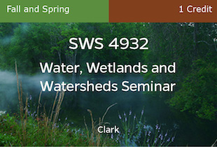 SWS4932, Water, Watersheds and Wetlands Seminar, Clark, Fall, Spring, 1 credit