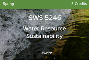 SWS5246, Water Resource Sustainability, Jawitz, Spring, 3 credits