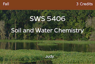 SWS5406, Judy, Soil and Water Chemistry, Fall, 3 credits