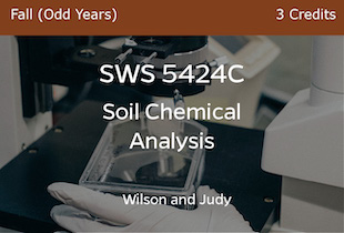 SWS5424C - Soil Chemical Analysis - Wilson and Judy, Fall of Odd Years - 3 credits