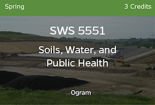 SWS 5551, Soils Water and Public Health, Ogram, Spring, 3 credits