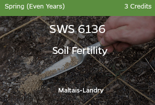 SWS6136 - Soil Fertility - Maltais Landry - Fall of Odd Years - 3 credits