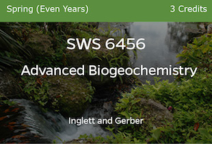 SWS6456 - Advanced Biogeochemistry - Inglett and Gerber - Spring of Even Years - 3 credits