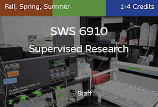SWS6910, Supervised Research, Staff, Fall, Spring and Summer, 1-5 credits