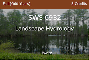 SWS6932 - Landscape Hydrology - Jawitz - Fall of Odd Years - 3 credits