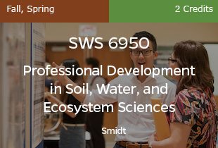 SWS6950, Prof Dev Soil,Water,Ecosystem Sciences, Smidt, Fall and Spring, 2 credits