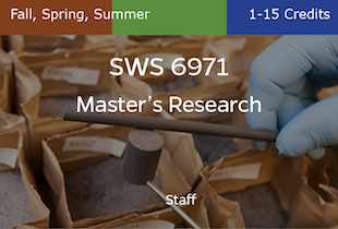 SWS6971 Master's Research, Staff, Fall, Spring and Summer, 1-15 credits