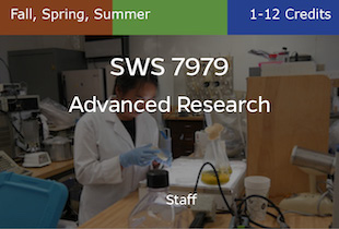 SWS7979, Advanced Research, Staff, Fall, Spring and Summer, 1-12 credits