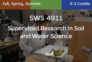 SWS4911 Supervised Research in Soil and Water Science, Staff, Fall, Spring, Summer, 0-3 credits
