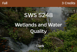 SWS5248, Wetlands and Water Quality, Clark, Fall, 3 credits